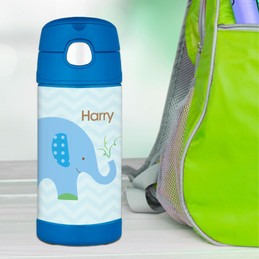 Blue Baby Elephant Personalized Boy Thermos