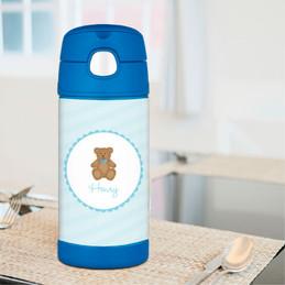 Cute Blue Teddy Bear Thermos Bottle