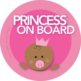Princess African American Baby on Board Sticker