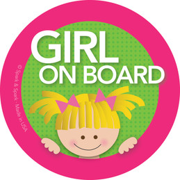 Blonde Girl On Board Labels by Spark & Spark