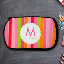 Bold And Fun Stripes Personalized Pencil Case For Kids