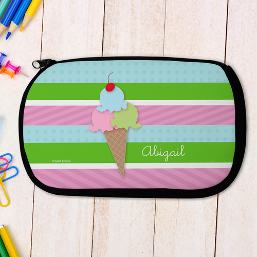 Yummy Ice Cream Cone Personalized Pencil Case For Kids