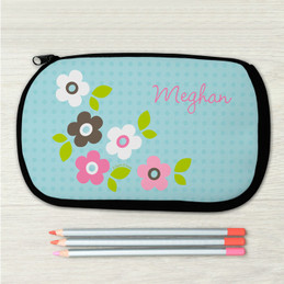 Blue Preppy Flowers Personalized Pencil Case For Kids