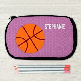 Lavender Basketball Personalized Pencil Case For Kids