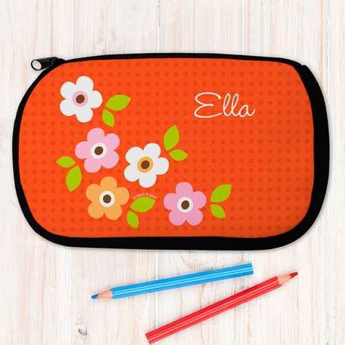 Orange Preppy Flowers Personalized Pencil Case For Kids