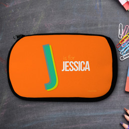 Orange Double Initial Personalized Pencil Case For Kids