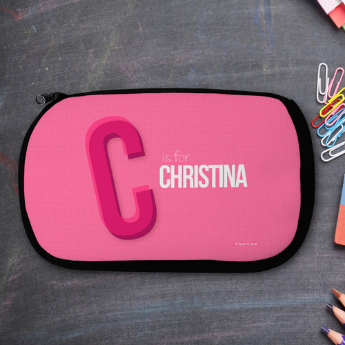 Pink Double Initial Personalized Pencil Case For Kids
