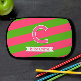 Double Initial Stripes - Pink Pencil Case
