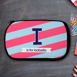 Blue Double Initial And Stripes Personalized Pencil Case For Kids
