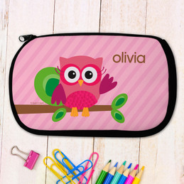 Pink Owl Personalized Pencil Case For Kids