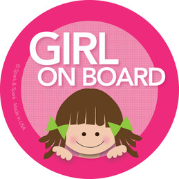 Girl Brunette Baby On Board Sticker