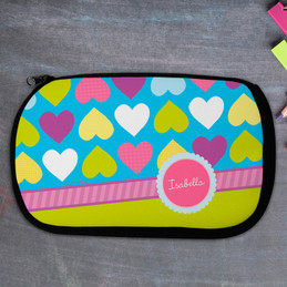 Happy Hearts Personalized Pencil Case For Kids