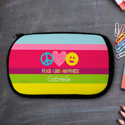 Peace Love And Happiness Personalized Pencil Case For Kids