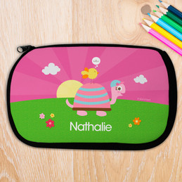 Happy Turtle And Bird Personalized Pencil Case For Kids
