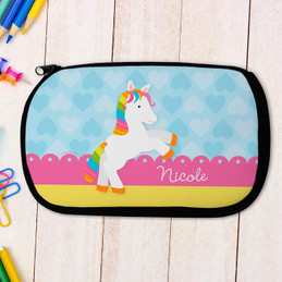Cute Rainbow Pony Personalized Pencil Case For Kids