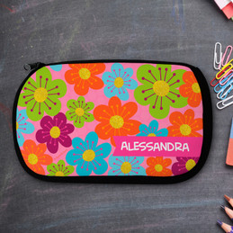 Shiny Bold Flowers Personalized Pencil Case For Kids