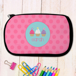 Three Cupcakes Personalized Pencil Case For Kids