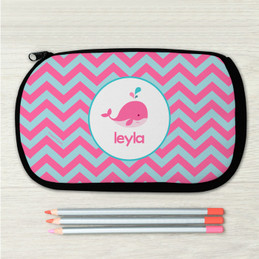 Sweet Pink Whale Personalized Pencil Case For Kids