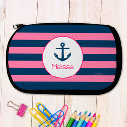 Navy And Pink Anchor Personalized Pencil Case For Kids
