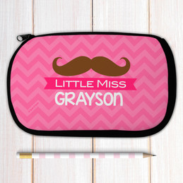 Pink Little Miss Mustache Personalized Pencil Case For Kids