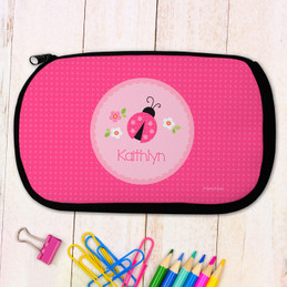 Sweet Pink Lady Bug Personalized Pencil Case For Kids