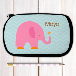 Sweet Pink Elephant Personalized Pencil Case For Kids