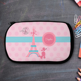 Pink Poodle In Paris Personalized Pencil Case For Kids
