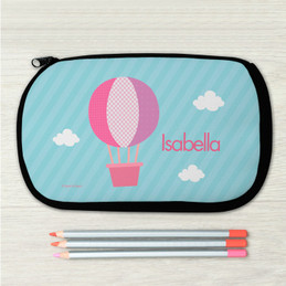 Pink Hot Air Balloon Personalized Pencil Case For Kids