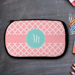 Pretty Pink Quatrefoil Personalized Pencil Case For Kids