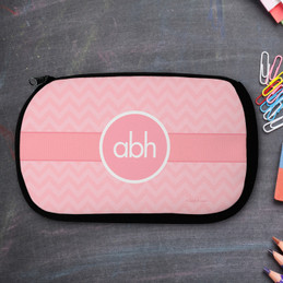 Initials on Chevron Pencil Case