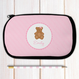 Sweet Pink Teddy Bear Personalized Pencil Case For Kids