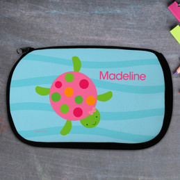 Swimming Pink Turtle Personalized Pencil Case For Kids