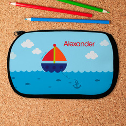 Blue Ocean Sailing Personalized Pencil Case For Kids