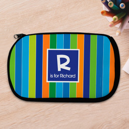 Bold Stripes Personalized Pencil Case For Kids