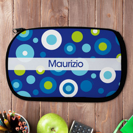 Blue Circles And Circles Personalized Pencil Case For Kids