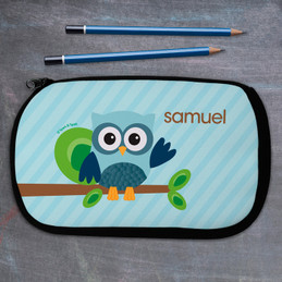 Blue Owl Personalized Pencil Case For Kids