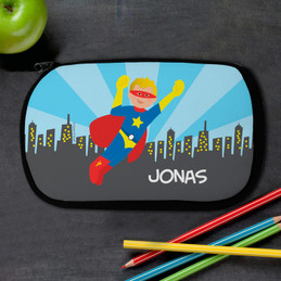 A Cool Brunette Superhero Pencil Case