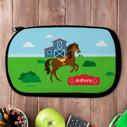 Cute Race Horse Personalized Pencil Case For Kids