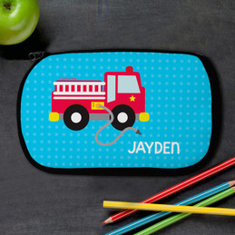 Cool Firetruck Personalized Pencil Case For Kids