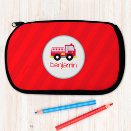 Cute Little Firetruck Personalized Pencil Case For Kids