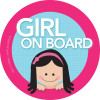 Baby on Board Sticker for Car w Black Hair Girl | Spark & Spark