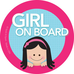 Baby on Board Sticker for Car w Black Hair Girl | Spark & Spark