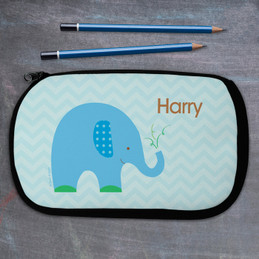 Blue Baby Elephant Personalized Pencil Case For Kids