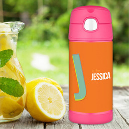 Orange Double Initial Personalized Thermos For Kids