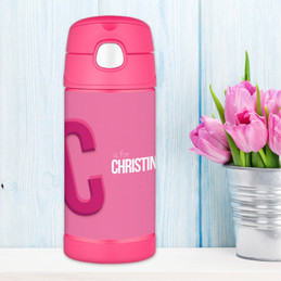 Pink Double Initial Personalized Thermos For Kids