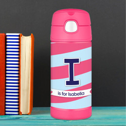 Pink And Blue Double Initial And Stripes Personalized Thermos For Kids