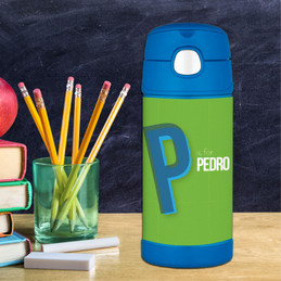 Double Initial - Green Thermos Bottle