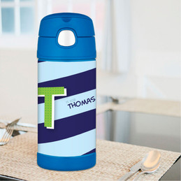 Brilliant Initial - Blue Thermos Bottle