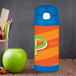 Brilliant Initial Orange Thermos Bottle
