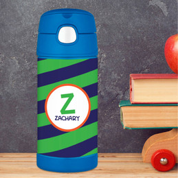 Fun Initials - Green Thermos Bottle